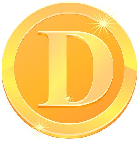 Złota litera D monety wektor ikona Ilustracje wektorowe