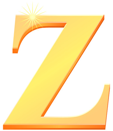 Gold capital letter Z in 3D vector icon.