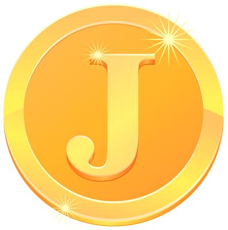 Gold coin with letter J design. Illustration