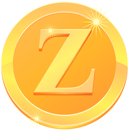 Gold coin or medal with letter Z vector