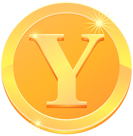 Gold coin or medal with letter Y vector
