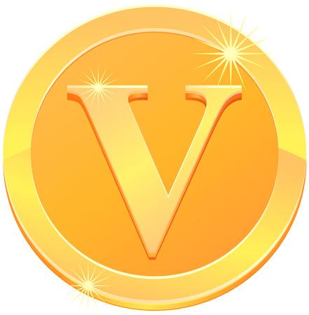 Gold coin or medal with letter V vector Illustration