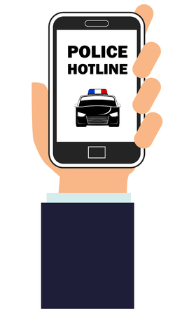 Hand holding a smartphone with police hotline app