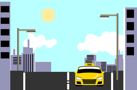 Yellow taxi cab on city street at day time vector Ilustracja