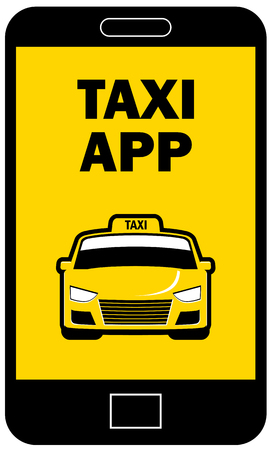Taxi app icon on smartphone or cellphone vector