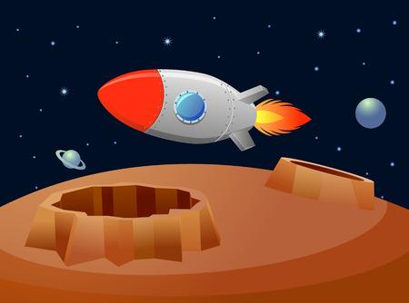 Vintage rocket floating over a planet vector