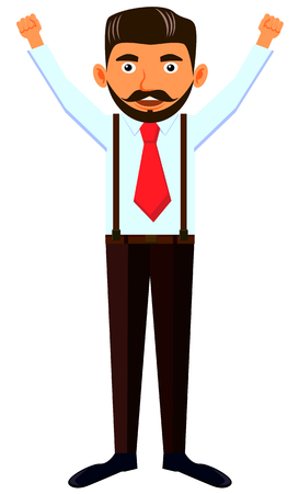 Man with beard raising both arms and hands vector Illustration