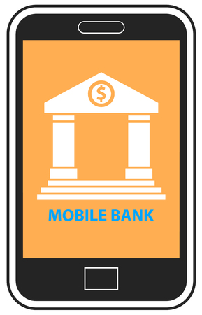 Mobile banking on cellphone vector
