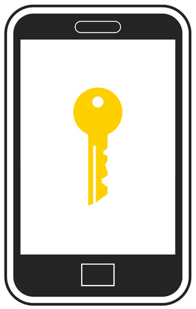 Smartphone with key on the screen vector