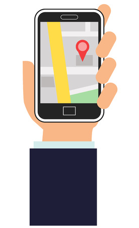 Hand holding a smartphone with map app on the screen vector