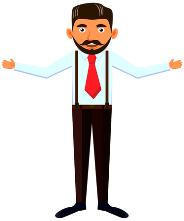 Bearded man with open arms vector