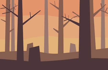 Dying forest vector illustration