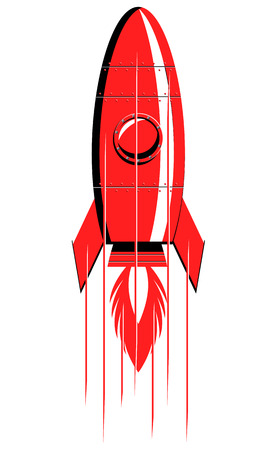 Red vintage rocket vertical launch vector Illustration