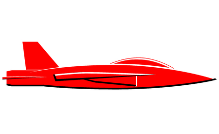 Red jet plane vector icon
