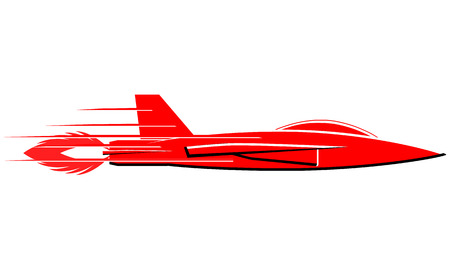 Fast red jet plane with boost