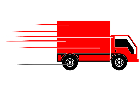 Fast cargo delivery truck vector icon Ilustracja