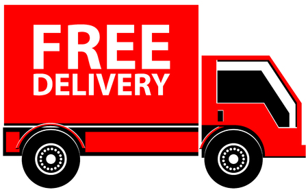 Truck with Free Delivery text vector icon