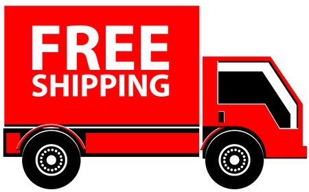 Truck with Free Shipping text vector icon Ilustracja