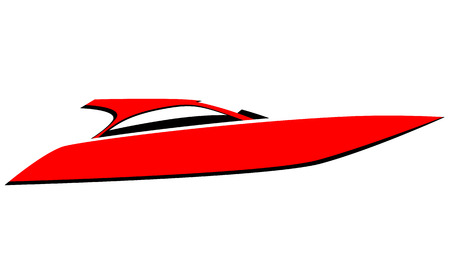 Red speed boat vector icon Illustration
