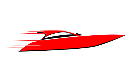 Fast speed boat vector icon Illustration