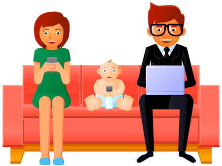 Family addicted to gadgets and phones vector
