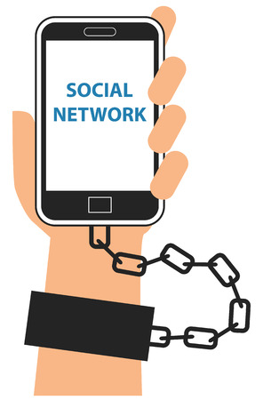 Hand chained to cellphone or smartphone symbol of gadget addiction vector