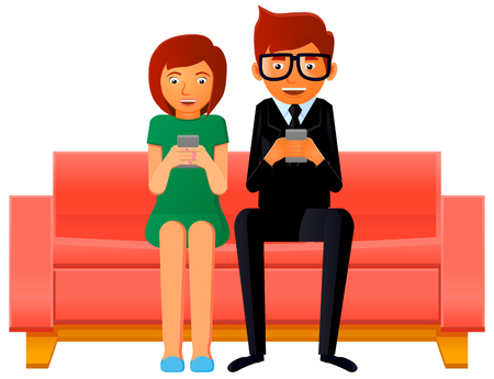 Couple busy looking at their smartphones vector Ilustracja