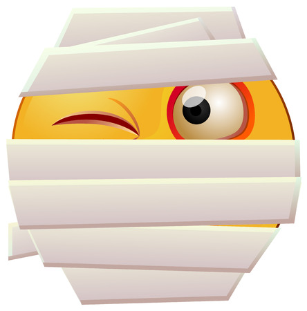 Emoji with bandage or mummy emoji vector  イラスト・ベクター素材