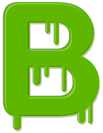 Letter B green paint vector