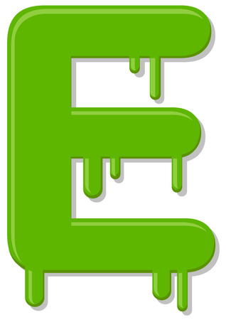 Dripping green letter E vector icon Ilustracja