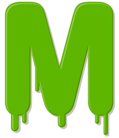 Dripping letter M vector icon