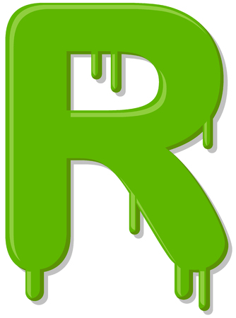 Dripping letter R vector icon