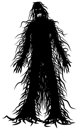 Icono de vector de monstruo peludo aterrador Ilustración de vector