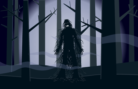 Scary hairy moster standing in dark forest vector Ilustracja