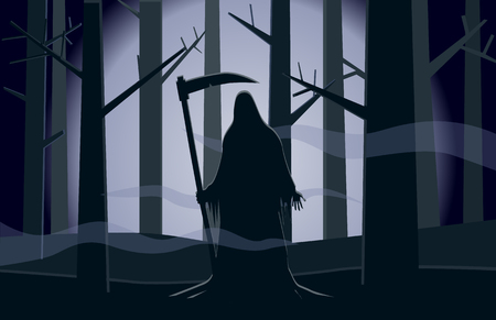 Death standing in the dark forest at night vector