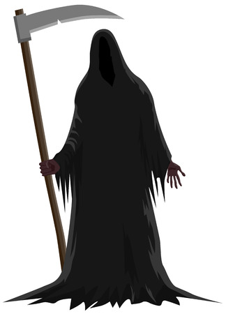 Morte in piedi con in mano una falce icona vettoriale