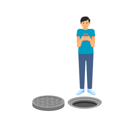 Man busy with smartphone in front of a manhole vector