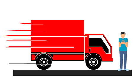 Truck to hit man addicted to smartphone vector Ilustracja