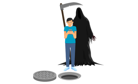 Man busy with cellphone and Grim Reaper behind him vector