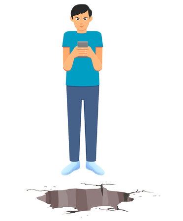 Man addicted to smartphone standing near the hole on the ground vector