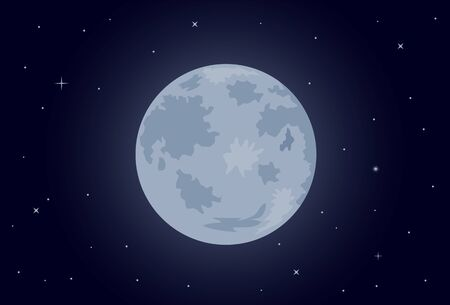 Full moon and stars vector icon