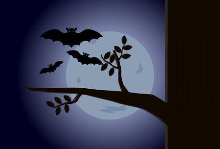 Halloween night with bat and moon vector