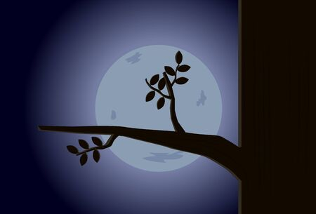 Tree silhouette and moon vector Çizim