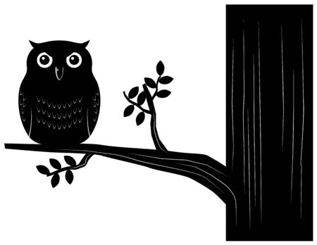 Owl silhouette on a tree vector