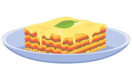 Lasagna on a plate vector icon