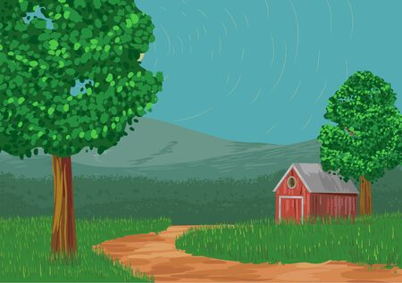 Rural landscape with cabin, trees and mountain vector