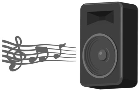 Audio speaker with music symbol coming out vector Ilustração