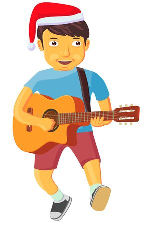 Little boy playing the guitar singing a Christmas song vector Ilustração