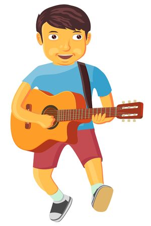 Little boy with dark hair is playing an acoustic guitar vector