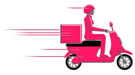 Female driving a delivery motorcycle scooter vector icon